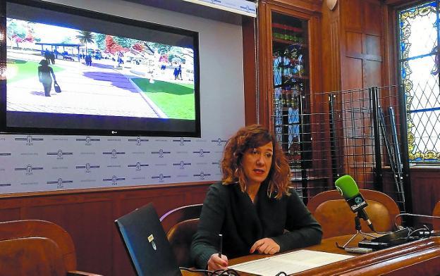 Cristina Laborda anunció ayer la aprobación oficial del proyecto para la glorieta de Palmera-Montero./