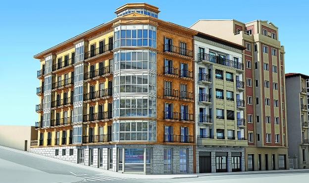 Fachadas. Infografía de los nuevos edificios de viviendas que se construirán en la plaza del Ensanche, esquina con la calle Zuberoa./