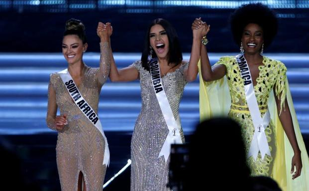 Miss Sudáfrica, Miss Colombia y Miss Jamaica.