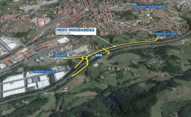 Mapa de la Ronda Sur que dará continuidad a la nueva salida de la autopista en Irun./
