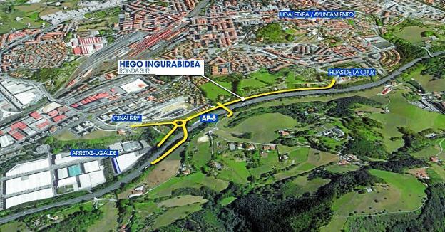 Nueva carretera. La primera fase conectará Oinaurre y Larreaundi con un nuevo vial paralelo a la autopista./