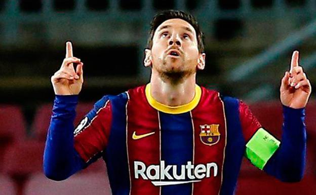 Leo Messi celebrates a goal going to heaven.