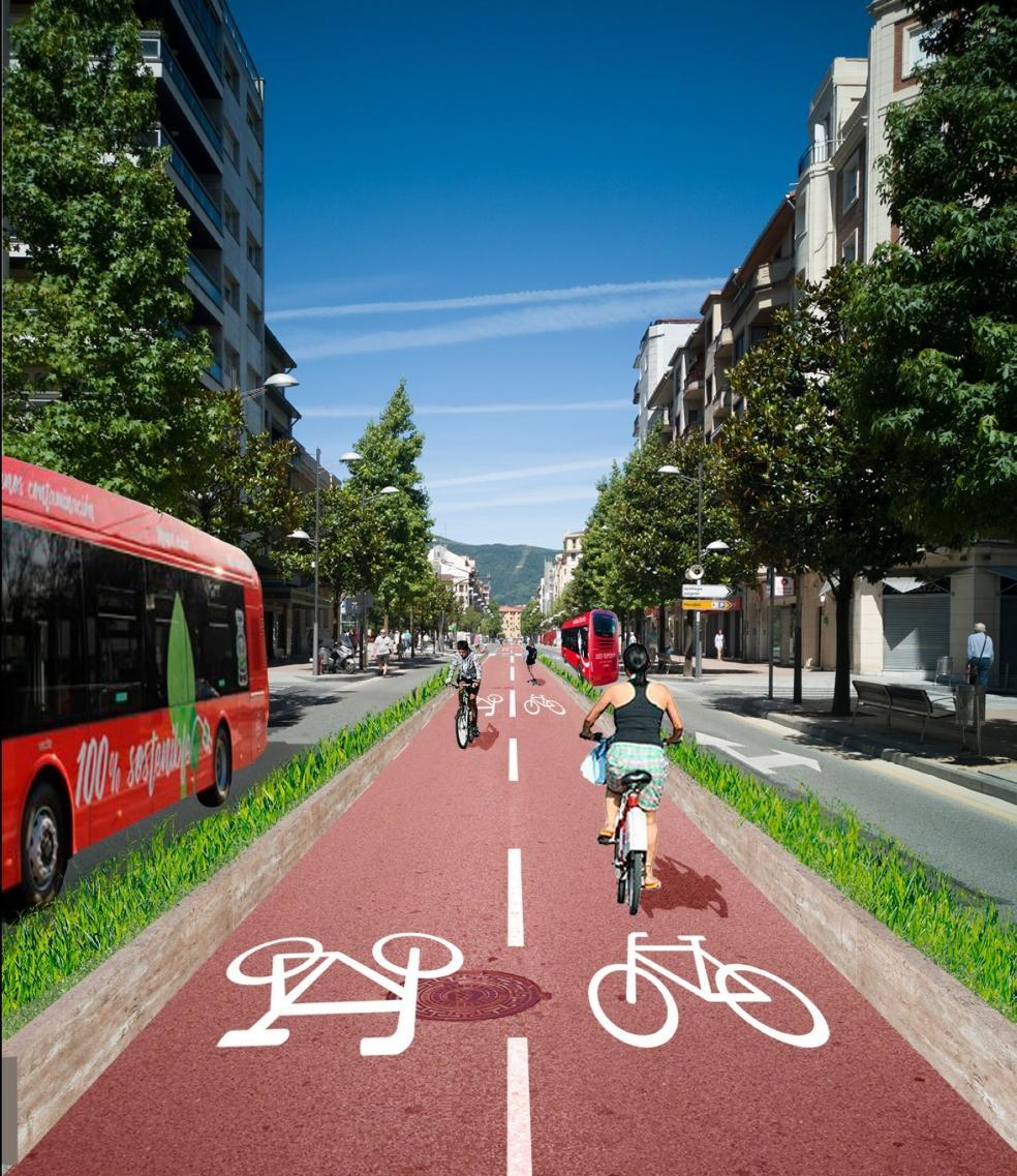 Otro paseo de Colón. El eje central del cambio que proponeel documento pasa por limitar a bicicletas y transporte públicoel tramo entre San Juan y la avenida de Gipuzkoa. / ALBA MOLAS