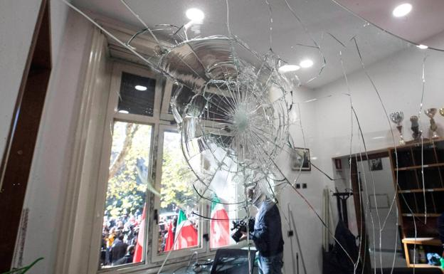 Damage caused at the headquarters of the Italian union CGIL.