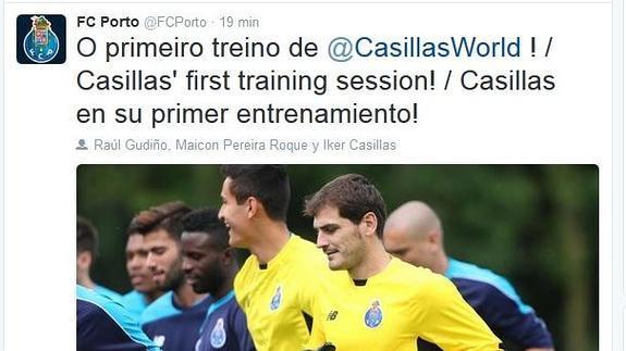 Casillas disfrutó en su primer entrenamiento con el Oporto