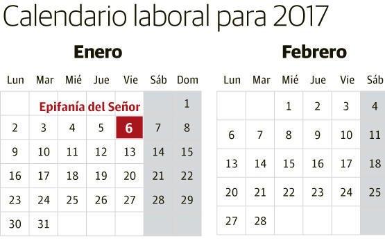 Calendario Laboral Espana.Calendario Laboral De 2017 Nueve Festivos En Toda Espana El